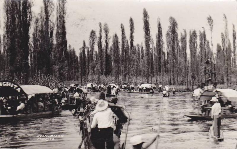 RP; Exposition of decorated passenger canoes, Xochimilco , Mexico, PU-1939