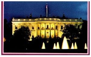 White House at Night Washington DC Vintage Postcard
