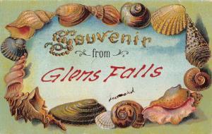 Glens Falls New York Seashell Border Souvenir Greeting Antique Postcard K67713