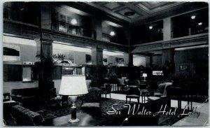 Raleigh, North Carolina Postcard SIR WALTER HOTEL Lobby View c1950s w/ Cancel