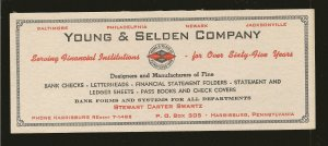 Vintage Young & Selden Company Harrisburg Pennsylvania Ink Blotter Unused