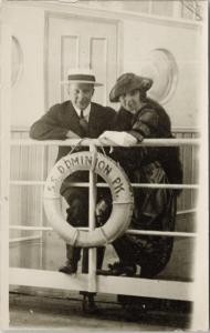 Man and Woman Onboard SS Dominion Boat Ship Couple Unused Antique Postcard E20