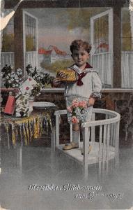 BG14725 boy with flower  geburtstag birthday   germany