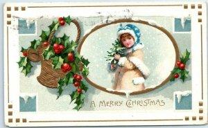 Fargo ND Advertising / Christmas Postcard SMEDLEY'S FLOWER STORE Girl Xmas Tree