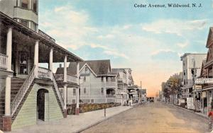 WILDWOOD NEW JERSEY~CEDAR AVENUE-Wm IZARD PUBL POSTCARD 1910s FAMILY LIQUOR SIGN