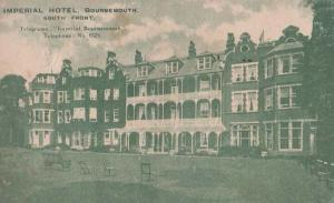 Imperial Hotel Bournemouth South Front + Telex Antique Advertising Postcard