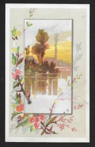 VICTORIAN TRADE CARDS (4 diff) Stock Cards Water View & Boat Edged with Flowers