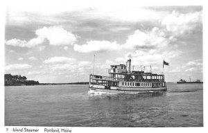 Portland ME Island Steamer Maquoit Real Photo Postcard