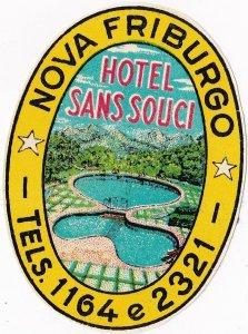 Brasil Nova Friburgo Hotel Sans Souci Vintage Luggage Label sk4642