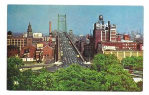 Philadelphia PA Approach to Benjamin Franklin Bridge to Camden NJ Postcard