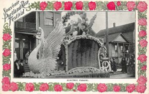 LPS62 Portland Oregon Rose Festival Electric Parade Swan Float Postcard