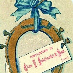 c1870s Lynn, MA Chas Fairbanks Good Luck Horseshoe Trade Card Engraved Text C11