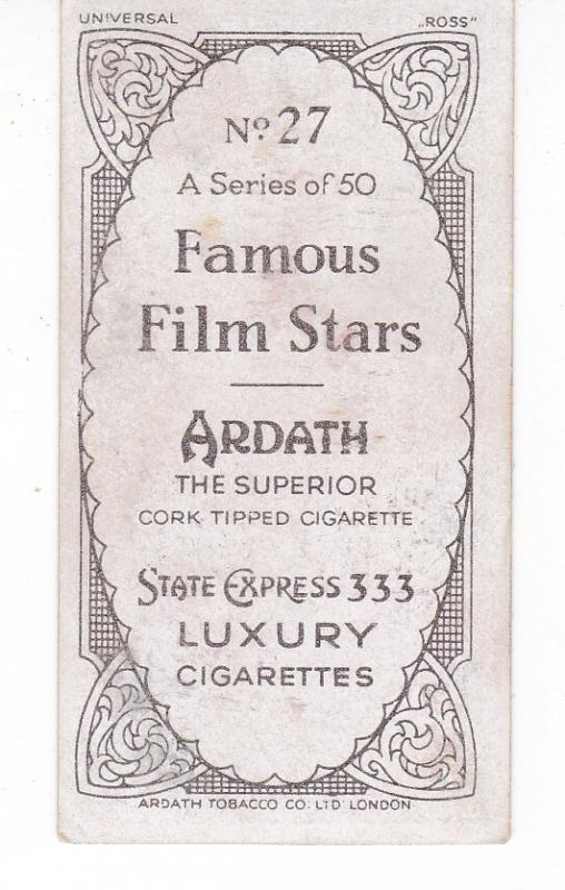Cigarette Card Ardath State Express FAMOUS FILM STARS No 27 Charles Laughton