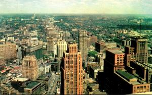 Michigan Detroit Downtown Looking North From Observation Tower Of The Penobsc...