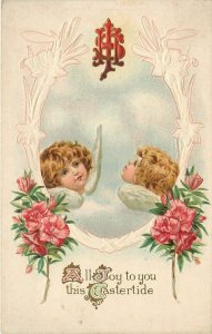 Easter~Little Girl Angel Faces in Clouds~Art Nouveau Lilies~Red Blooms~Embossed