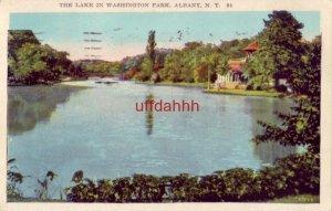 THE LAKE IN WASHINGTON PARK ALBANY, NY 1927 publ by C. W. Hughes & CO.