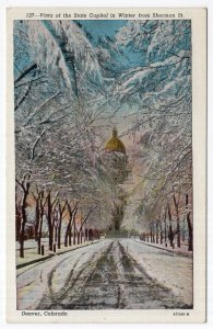 Denver, Colorado, Vista of the State Capitol in Winter from Sherman St.