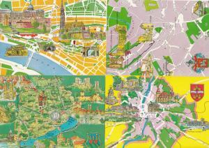 Budapest Castle Veszprem County Map Megye Hungary 4x Postcard