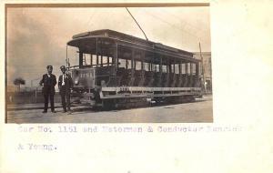 Lynn MA to Reading MA Trolley 1151 Motorman & Conductor RPPC Postcard