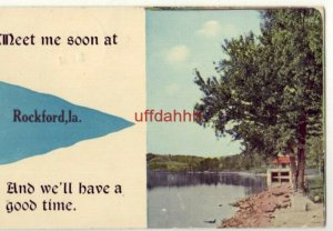 pennant MEET ME SOON AT ROCKFORD, IA WE'LL HAVE A GOOD TIME 1913 lake scene