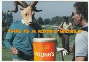 Advertising; Young's Brewery, Youngs Bitter, This Is A Rams World PPC Unused 3