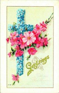 Vtg Postcard 1910s Embossed Greetings True Love Fond Memories Flowers Unused UNP