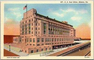1940s Atlanta, Georgia Postcard U.S. Post Office Building View CURTEICH Linen