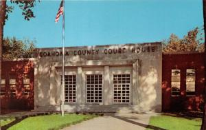 Clarksdale Mississipppi~Coahoma County Court House~American Flag~1960s Postcard