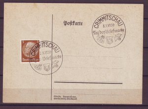 P1675 1939 WWII nazi germany postcard crimmitschau cancel hindenburg stamps