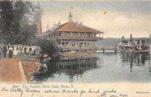 LP60 Silver Lake Akron Ohio Postcard   Pavilion handcolored