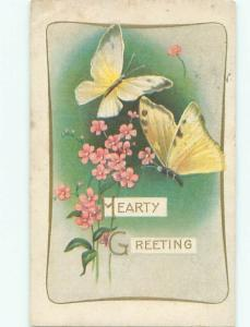 Pre-Linen BEAUTIFUL LARGE YELLOW BUTTERFLIES AND PINK FLOWERS AC4879