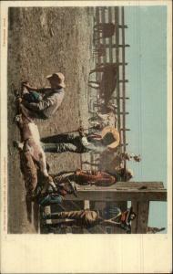 Cowboys Branding Cattle 1905 Detroit Publishing Postcard