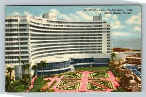 Miami FL-Florida, Advertising Fontainebleau Hotel, Beach, Linen c1958 Postcard