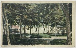 Old White Border Era Postcard Scene Auditorium Park, Ocean Grove, New Jersey