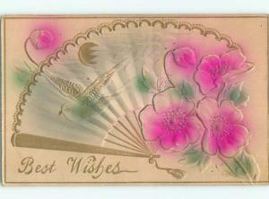 Unused Pre-Linen art nouveau EMBOSSED BIRD ON FAN ON POSTCARD k8435