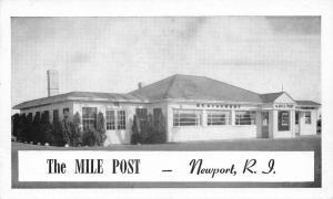 Newport Rhode Island~The Mile Post Roadside Diner~1950s B&W Postcard