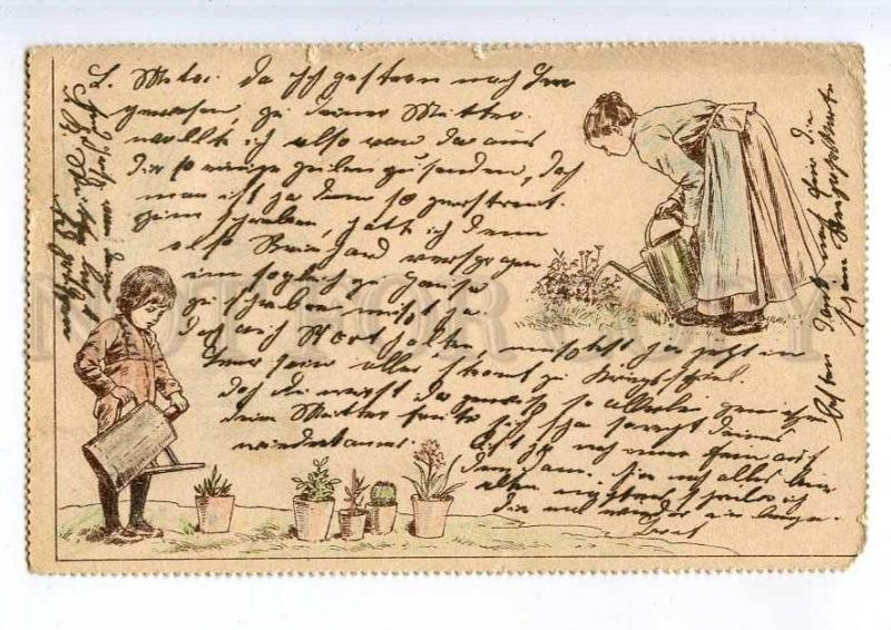 240733 FASHION Kids Gardeners Vintage POST 1899 year postcard