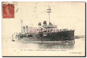 Old Postcard Boat Kleber flying the flag of the Minister of Marine