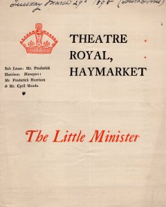 The Little Minister Rare Cyril Maude Political Play Victorian London Theatre Pro