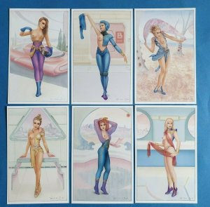 Set of 6 Art Fantasy Postcards Space Ladies (Set 1) by Jeff Willis, Geoff White
