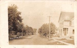 Fredonia Wisconsin~Residence Street~Wagons & Neighbors Along Dirt Road~1918 RPPC