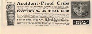 1903 Foster Bros. Cribs Original Print Ad 2T1-47