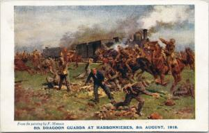 5th Dragoon Guards at Harbonnieres 1918 Battle of Amiens F. Manania Postcard E40