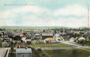 Centralia WA~Sectional View of Homes, Churches & Downtown~1910 Postcard