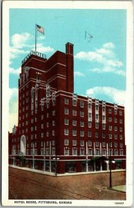 Pittsburg, Kansas Postcard HOTEL BESSE Street View Curteich Linen 1940s Unused