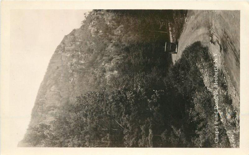 1920s Chapel Pond Road Auto St Heuberts New York RPPC real photo postcard 7473
