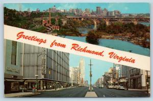 Postcard VA Banner Dual View Greetings From Richmond Virginia Vintage #2 P10