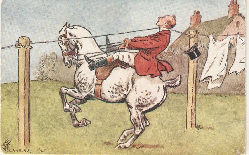 Fox hunter on horse hits clothes line Tuck France PC #566
