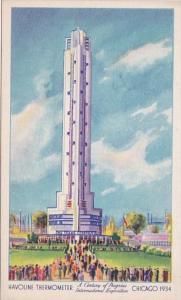 Illinois Chicago Century Of Progress Havoline Thermometer World's Talles...