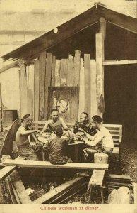 straits settlements, SINGAPORE, Chinese Workmen at Dinner (1910s) Postcard